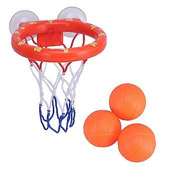 4pcs Sjov Basketball Hoop og bolde Playset Badekar Skydespil for Kids Småbørn (1 Basketball Hoops, 3 Bolde)
