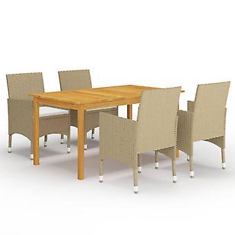 vidaXL 5 pezzi. Gruppo da pranzo giardino beige