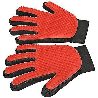 Pet Hair Remover Glove,pet Grooming Glove,gentle Deshedding Brush Glove 1 Pair(Red)