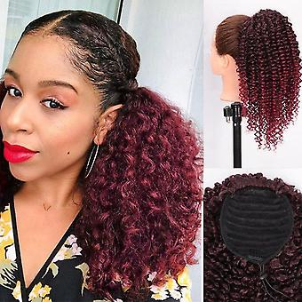 Drawstring ponytail hair synthetic brown ombre  afro kinky curly ponytail extension  ponytail hair