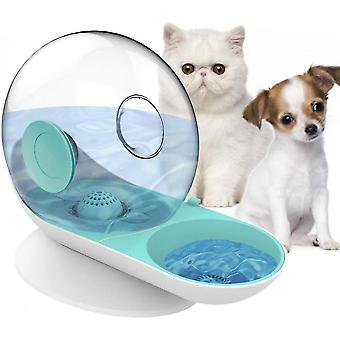 Small Pets Water Dispenser Dogs Cats Gravity Waterer Feeder Bowl Auto(Green)