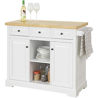 SoComprar FKW101-WN, Isla de cocina con 3 cajones 2 estantes abiertos 2 puertas