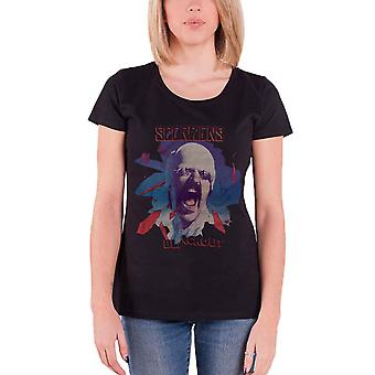 Scorpions T Shirt Black Out Band Logo new Official Womens Skinny Fit Black