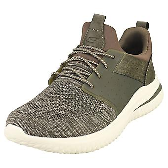 Skechers Delson 3.0 Cicada Mens Casual Trainers à Olive