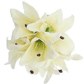 6 tallos 28cm crema tela Lilly flores para floristería artesanías | Flores artificiales falsas
