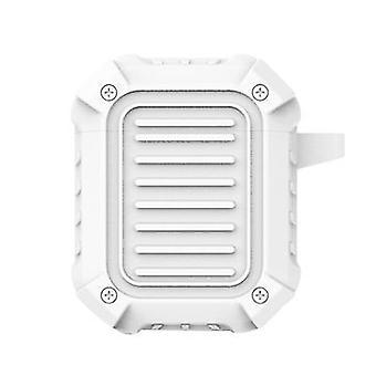 Carcasa protectora de silicona dura para Airpods con gancho (4.8 * 2.7 * 6 cm) (blanco)