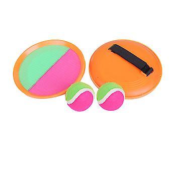 1 комплект / 4шт паддл теннис Toy Ball Бросок и ловля спортивный мяч Бросок поймать биту Игра Набор Родители-дети Интерактивный реквизит для дома (2 Orange Catch