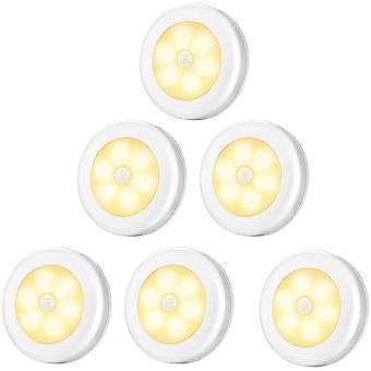 Szafa Lampa / LED Szafa, 6szt Lampy Szafa Night Light, LED Oświetlenie Motion Detector, (bateria Powered) Białe ciepłe światło