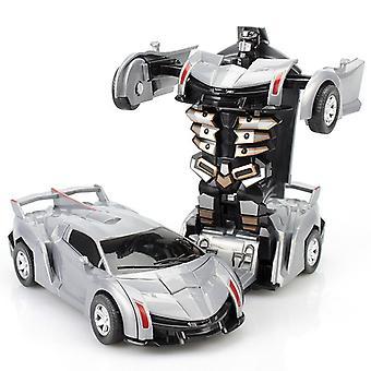 2 in 1 変形ロボットキット 12-13cm ワンステップ 変形 おもちゃ車モデル 子供のおもちゃの誕生日ギフトb