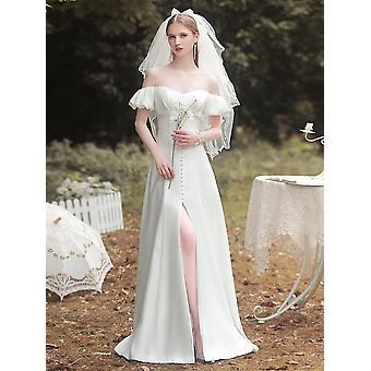 French A-line Satin Wedding Dress