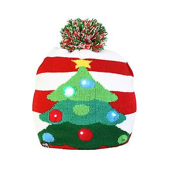 Christmas Hats Santa Elk Sweater Knitted Beanie Hat With Led Light Up Cartoon Christmas Gift For Kids New Year