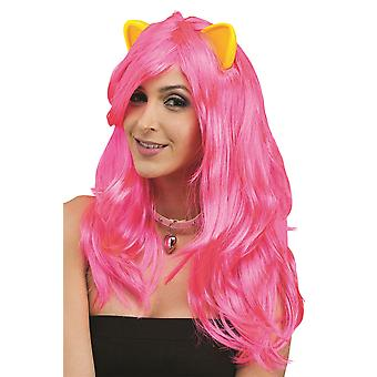 Cosplay Neon Fantasy Wig With Cat Ears
