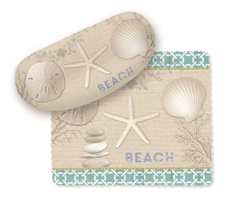 Seashells Starfish Sand Dollar on Beach Sunglasses Case with Lens Cloth