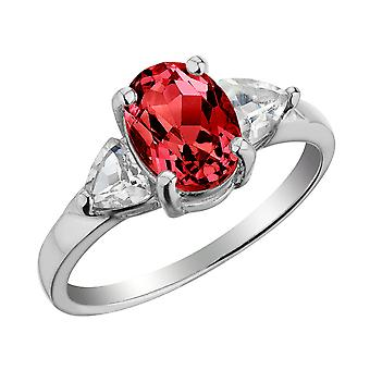 Sterling Silver Lab-Created Ruby & White Topaz Ring