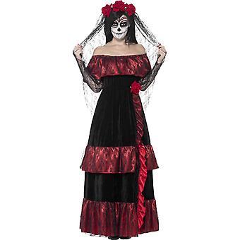 Gothic bruid kostuum vrouwen schedel Lady Dead Bride jurk met roseveil vrouwen kostuum