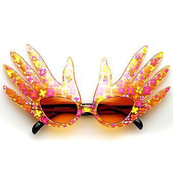 La main de forme doigt couleur fleur impression Costume Party nouveauté lunettes de soleil