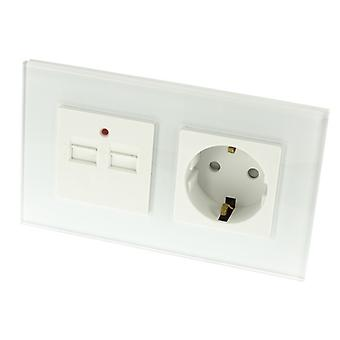 I LumoS Luxury White Glass 16A German Schuko & 2.1A USB Charger EU Double Socket