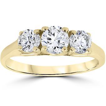 1ct três pedra diamante anel de Womens aniversário de noivado 14K ouro amarelo