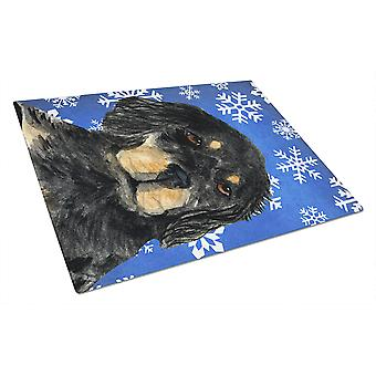 Gordon Setter Winter Snowflakes Holiday Glass Cutting Board Large