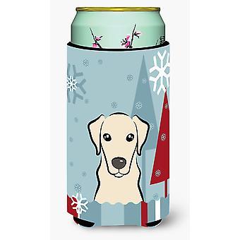 Zimowe wakacje Yellow Labrador wysoki chłopiec napojów izolator Hugger