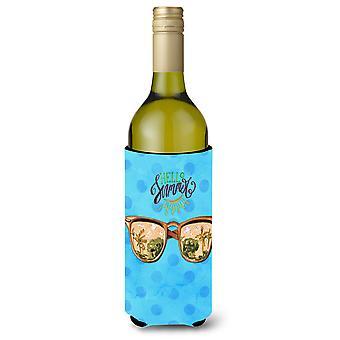 Strand-Sonnenbrille blau Polkadot Wein Flasche Beverge Isolator Hugger