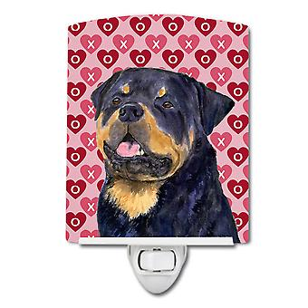 Rottweiler Hearts Love and Valentine's Day Portrait Ceramic Night Light