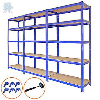 Monster Racking - T-Rax Metall-Lagerregale, Blau, 90cm B, 45cm T, 3er-Set