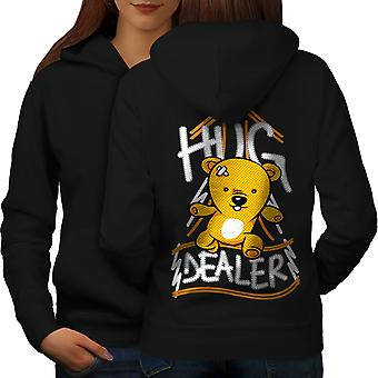Hug Dealer Bear Funny Women BlackHoodie Back | Wellcoda