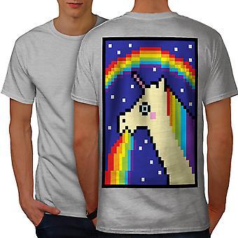 Unicorn Cool Stupid Funny Men GreyT-shirt Back | Wellcoda