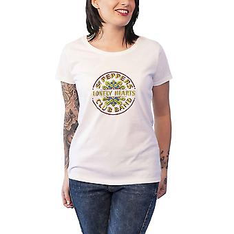 De Beatles T Shirt Sgt Pepper Folie Print officiële Womens witte nieuwe Skinny Fit