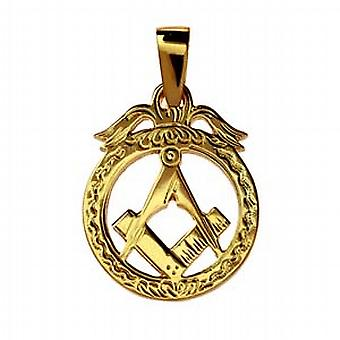 מעגל זהב 32x25mm של 9ct חרוט הבונים החופשיים סמל בתליון עיגול בערבות