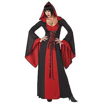 Deluxe Robe mit Kapuze Red Devil Vampire gotischen mittelalterlichen Womens Hexenkostüm