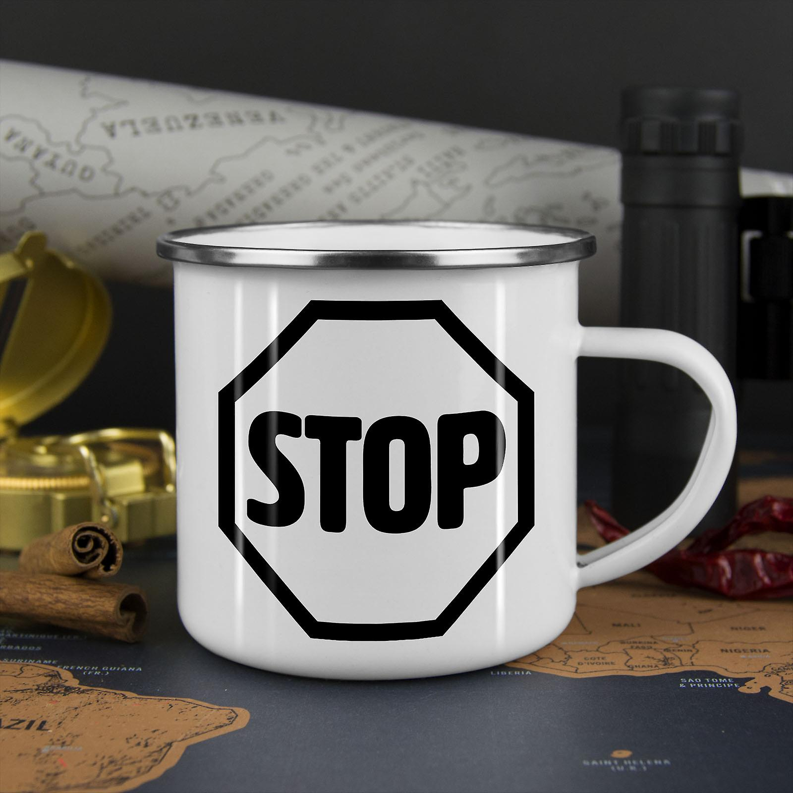 Stop-Schild Mode neu WhiteTea Kaffee Emaille Mug10 oz | Wellcoda