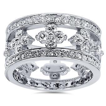 3ct Diamond Vintage Style Eternity Ring 14K White Gold