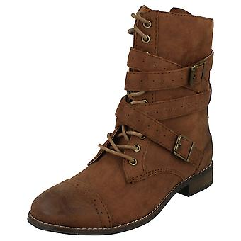 Ladies Coco Military Style Lace Up  Flat Boots L8641