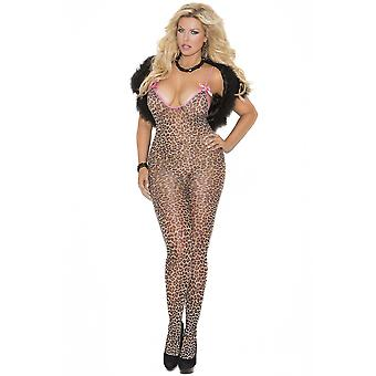 Womens Plus Size Leopard Print Satin Bow Crotchless Bodystocking Romper Lingerie