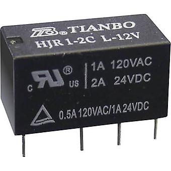 Tianbo Electronics HJR1-2C-L-12VDC PCB relay 12 V DC 2 A 2 change-overs 1 pc(s)