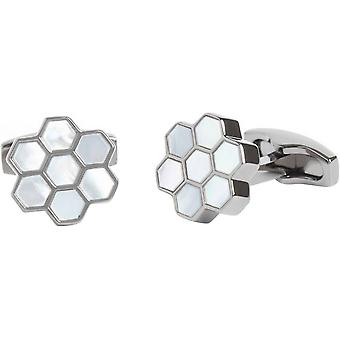 Simon Carter Mother of Pearl Honeycomb Cufflinks - White