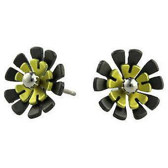 TI2 titanio nero posteriore Ten petalo fiore orecchini - giallo limone