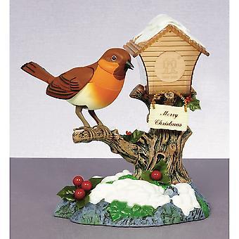 Boutique de Noël chantant Robin sur Birdhouse ornement à bascule