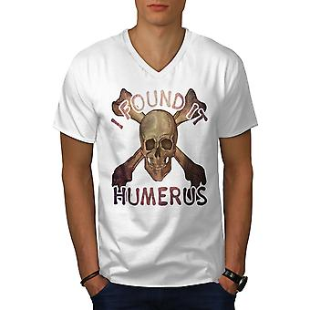 I Found It Humerus Men WhiteV-Neck T-shirt | Wellcoda