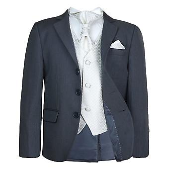 Boys New 5 Pc Grey & Ivory Wedding Cravat Suit