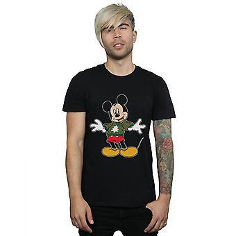 Disney Men's Mickey Mouse Christmas Sweatshirt Stroke T-Shirt