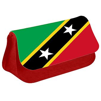 Saint Kitts and Nevis Flag Printed Design Pencil Case for Stationary/Cosmetic - 0146 (Red) by i-Tronixs