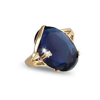 Gold-Plated Ring With Synthetic Sapphire And Cubic Zirconia