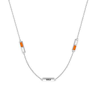 University Of Tennessee Sterling Silver Engraved Triple Station Necklace In Orange and White