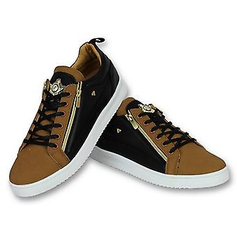 Shoes - Sneaker Bee Camel Black Gold - Brown