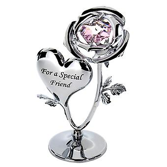Crystocraft Chrome Plated Rose & Heart Ornament (FRIEND)