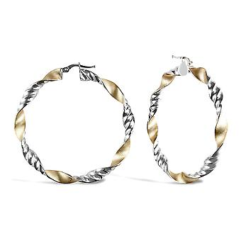 Jewelco London Ladies 9ct Yellow and White Gold Frosted Ribbed Twist Hoop Earrings