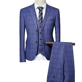Allthemen menns 3 stykker casual slim fit rutete Dress blazer & vest & bukser